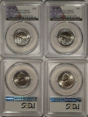 2010 P/&D Yellowstone NP ATB 25c Quarters 2 Coin Set NGC MS66 FDI w//BANNED LABEL