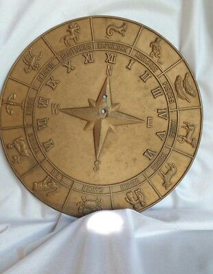 Rare Vintage All Zodiac Signs Solid Polished Brass Sundial and Compass Horoscope