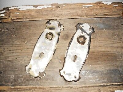 Vtg Steampunk Mission Gothic Rustic Chippy Patina Shabby Door Knob Backplates