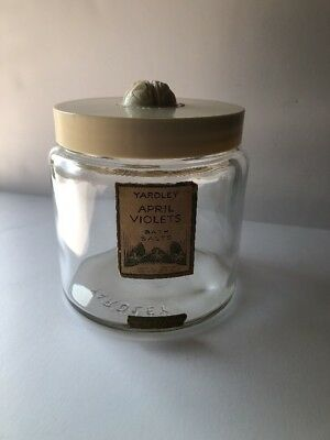"""Vintage Yardley Glass Jar with Bumble Bees on Bakelite Lid 5"""" Tall"""