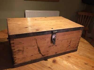 Vintage Pine Chest Iron Straps side table box storage