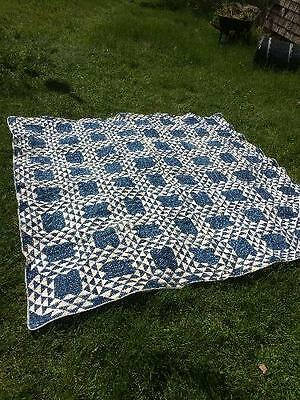 "Indigo Blue and White Quilt with Blue Homespun Back 78"" by 78"""