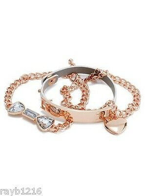 NWT Guess Rose-Gold Metal-Clear Rhinestones-White Faux Leather Bracelet Set/3