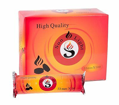 Sunlight High Quality Premium Hookah Charcoal - 1 Box, 10 Rolls, 100 Tablets