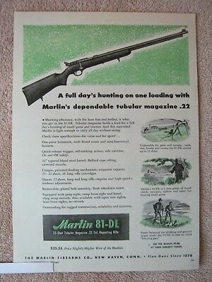 Vintage 1947 Marlin Model 81-DL .22 Cal. 25 Shot Magazine Hunting Rifle Print Ad