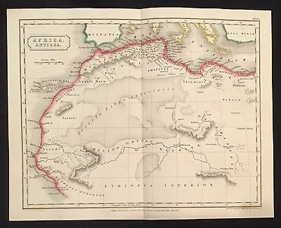 1827 hand-colored MAP o ANCIENT NORTHERN AFRICA Egypt SICILY Mediterranean ITALY