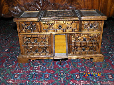 Vintage Solid Oak Jewelry Music Box