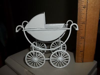 Baby Pram - White  Metal - Miniature