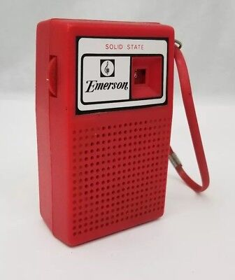 Vtg Emerson P-4000 AM Pocket Transistor Radio Red Solid State Works FREE SHIP