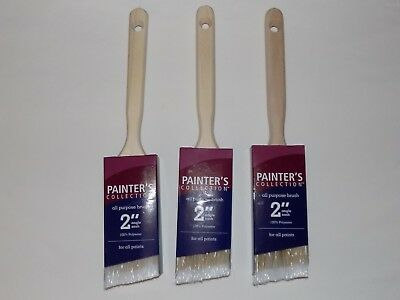 """New Lot Set Of 3 Painter's Collection All Purpose 2"""" Angle Paint Brush Brushes"""