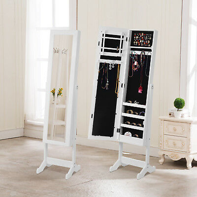 Delicieux Full Size Mirror Jewelry Cabinet Organizer Armoire Storage Chest Box W/Stand