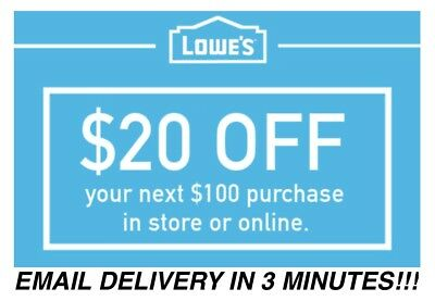 Lowes 20 Off $100 1COUPON-Fast Delivery-InStore/Online ~ Good to 12/15 *WORKS*