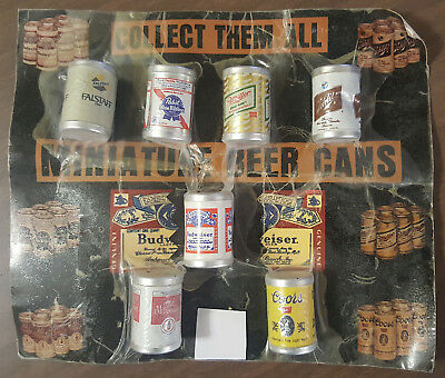 Vintage: 7 Miniature Beer Cans - Collectible - Falstaff, Coors, Bud, Miller, +