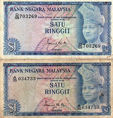 Malaysia TOW NOTES 1967/72 1 Ringgit P.1. VF A/35 034733 - D/59 703269