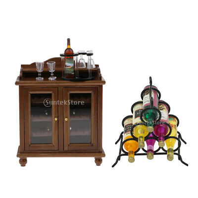 1/12 Dollhouse Miniature Wooden Wine Cabinet with Bottles Cups& Wine Rack