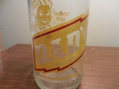 """Vgt DAD's family root beer """"MAMA"""" size rare clear pop bottle"""