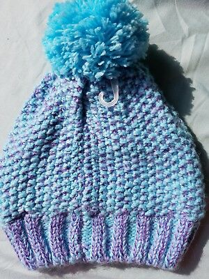 The Children's Place Knit Pom Pom Hat Blue Sparkle Sz:Small/Med 4-7 Yrs. NEW!
