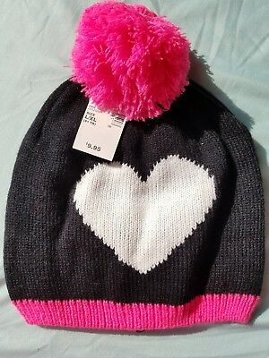 The Children's Place Knit Pom Pom Hat, Black, Hot Pink & White Heart Sz. L/XL 8y