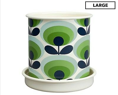 ORLA KIELY 70's Retro ENAMEL PLANTER POT & SAUCER Oval Flower Green LARGE