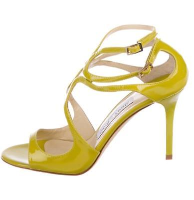 061f77551147  795 New JIMMY CHOO Green IVETTE Citrine Patent Sz 36 Strappy Sandals Shoes