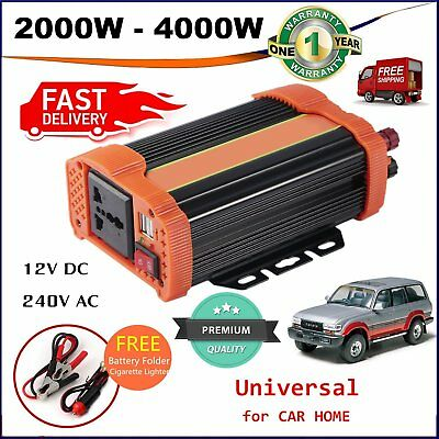 2000W (4000W Max) Power Inverter Car DC 12V to 240V AC Converter USB Charger M2