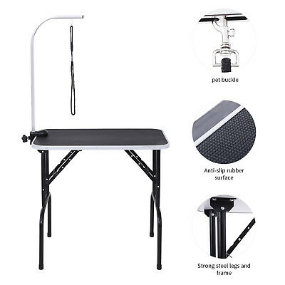"32"" Black Large Portable Dog Cat Pet Grooming Table with Arm Noose Rubber Mat"