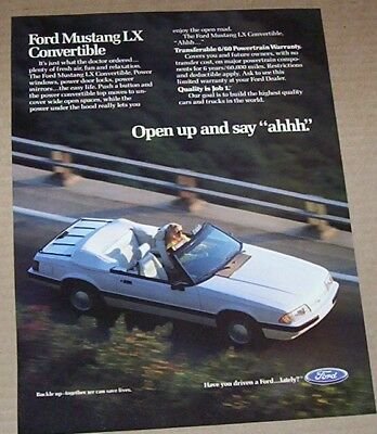 1989 print ad - Ford Mustang LX Convertible car vintage ADVERTISING Page