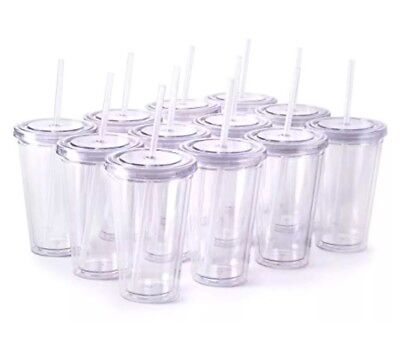 Insulated Tumblers Plastic Cups with Lids & Straws 16oz Double-wall 24 Pack Case