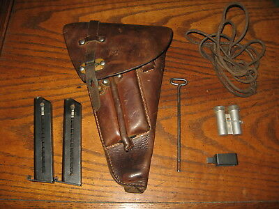 Swedish brown leather Lahti holster military complete 2 mags tools 9mm m/40