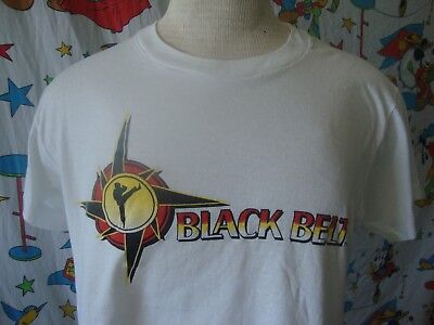 Vintage 80's Black Belt Karate ninja martial arts punk rock paper thin T Shirt M