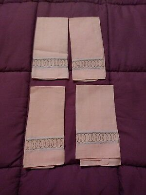 """4 Beautiful Madeira Metallic Embroidered  Linen Hand Towels 13 1/2"""" by 8"""""""