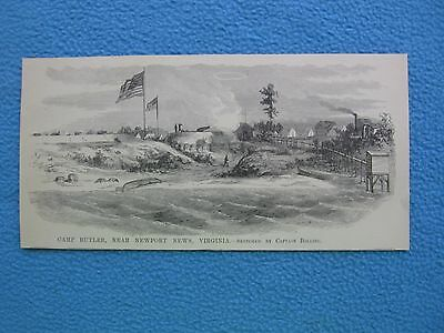 1885 Civil War Print - Camp Butler, Near Newport News, Virginia - FRAME IT