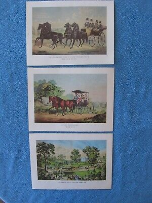 3 Horse & Carriage Prints by Currier & Ives 1968 -      I COMBINE SHIPPING