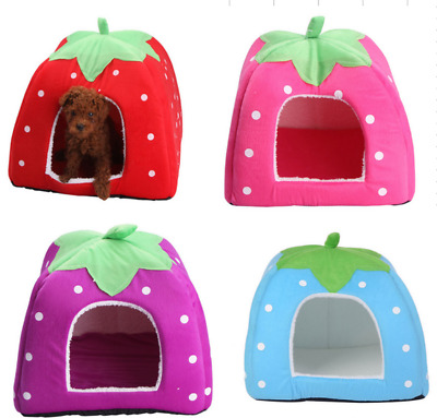Pet Dog House Kennel Soft Igloo Bed Cave Cat Puppy Doggy Warm Cushion Strawberry