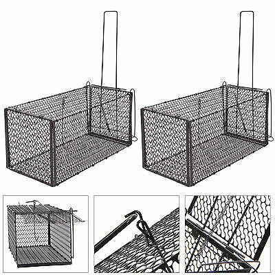 Foldable Rat Catcher Mouse Metal Traps Rodent Animal Cage Indoor Outdoor 2PC UK