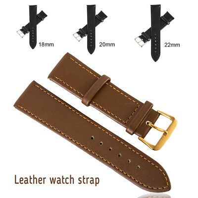 Replacement Genuine Leather Watch Strap Band Buckles Wristwatch Width18/20/22mm