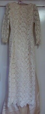 Vintage Cream Satin & Lace Wedding Gown & Train