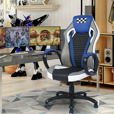FurnitureR Racing Style PU Leather Ergonomic Swivel  Gaming Chair Office Seat