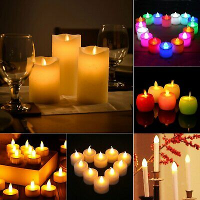 LED Candles Tea Light Flameless Flickering Wedding Party Battery Decor Tealight