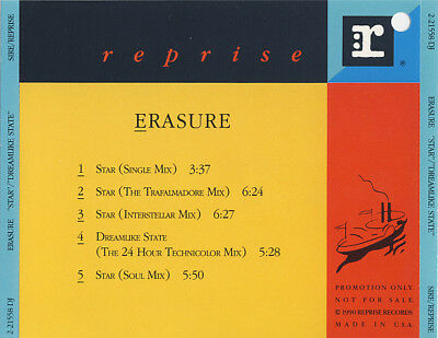 Erasure, Star, NEW/MINT U.S. promo CD single