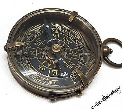 Handmade Antique Brass Navigational Device Compass Fully Functional Pocket Comp