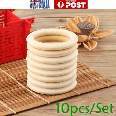 10pcs 55mm Baby Wooden Teething Rings Necklace Bracelet Crafts Unfinished Wood