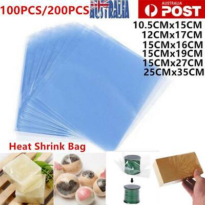 100/200x Heat Shrink Bag Wrap Film Packaging Seal Gift Pack PVC Shrinkable AU