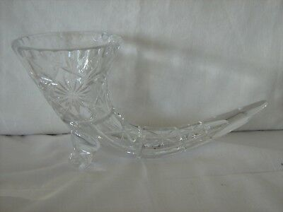 Heavy quality Crystal Glass horn shaped vase