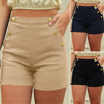 Women High Waist Shorts Ladies Summer Holiday Beach Casual Hot Pants Plus Size