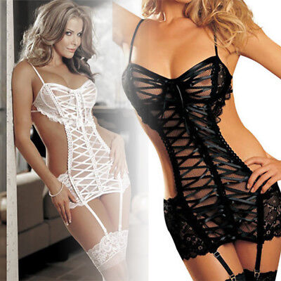 Sexy Bodysuit Lady  Open Crotchless Lingerie Nightwear Body Stocking Bodysuit