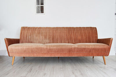 Large Vintage 3 Seater Sofa for reupholstery Retro German Solid Built