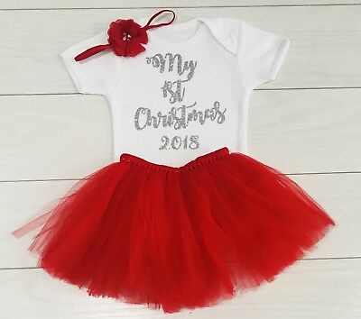 Luxury Girls My First 1st Christmas Red Tutu Skirt Outfit Vest Photo Shoot 2019