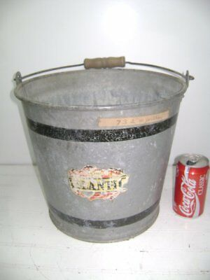 "Vintage Atlanic Galvanized Metal 11"" Tall Wooden Handled Pail, Bucket, Planter"