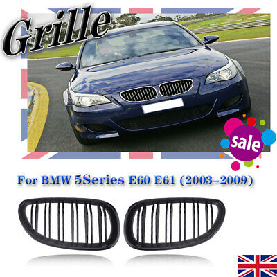 2X Front Kidney Grill Double Line Slat Gloss For 03-09 BMW E60 E61 5 Series M5
